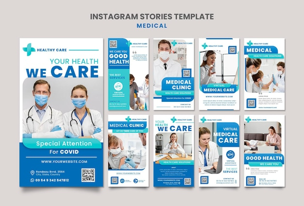 Medical care instagram story template design