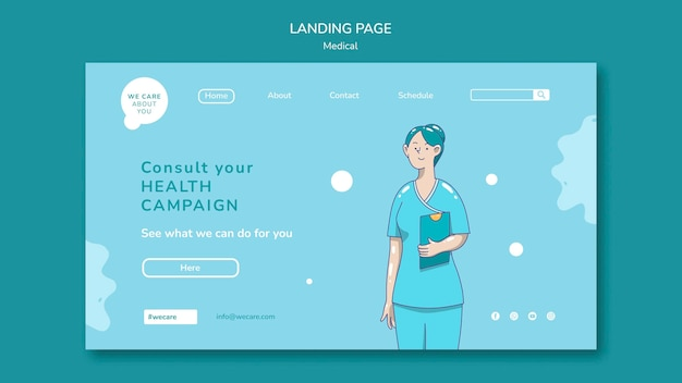 Medical care landing page template