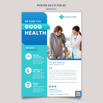 Medical care poster and flyer template design