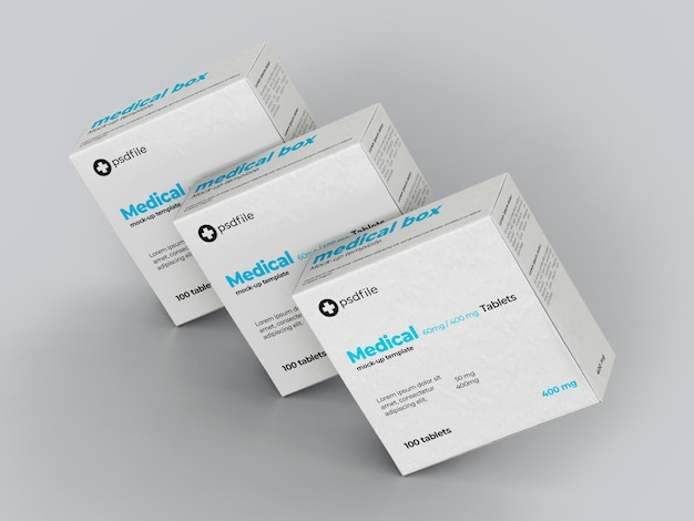 의료 약물 상자 목업 템플릿