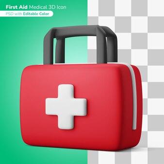 Аптечка первой помощи 3d иллюстрация 3d значок редактируемый цвет изолированный