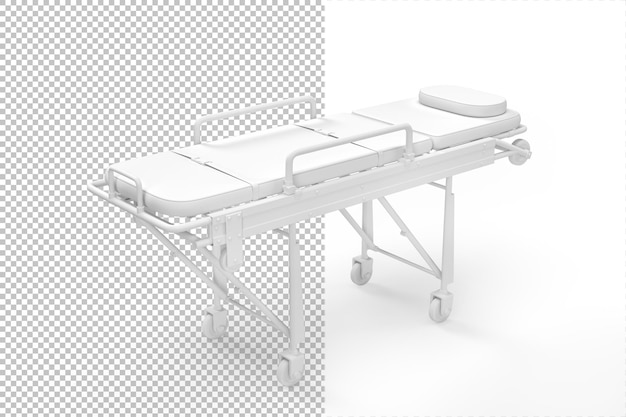 Medical gurney isolated in 3d rendering