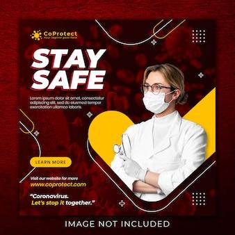 コロナウイルスに関する医療健康バナー、ソーシャルメディアinstagramの投稿バナーテンプレート