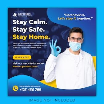 Medical health banner about coronavirus, social media instagram post banner template