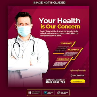 Medical health banner about coronavirus, social media instagram post banner template