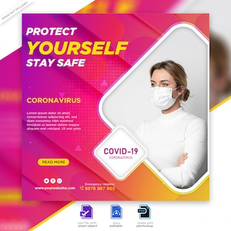 Medical health banner about covid-19 coronavirus, social media instagram post banner template