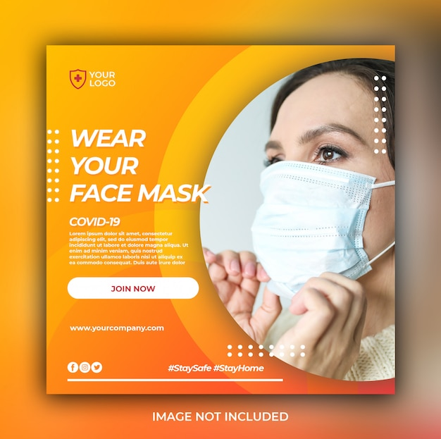 Medical health banner or square flyer with virus prevention theme for social media post template