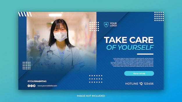 バナーテンプレートのコロナウイルスの概念と医療健康バナー