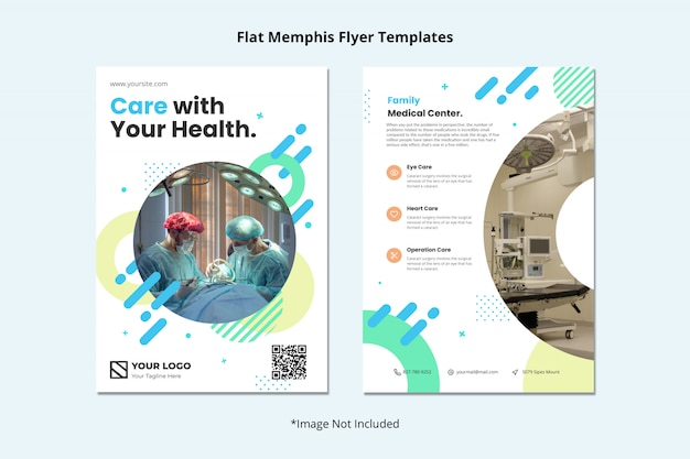 Medical health dentist hospital flyer template memphis style