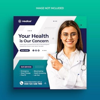 Медицинское здравоохранение в социальных сетях размещает веб-баннер, флаер и шаблон сообщения в instagram