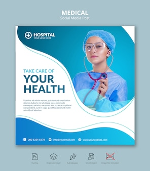 Medical health square banner instagram post template