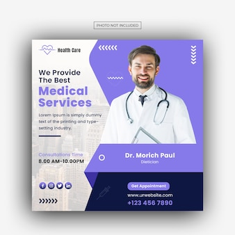 Medical healthcare facebook and instagram banner post template Premium Psd