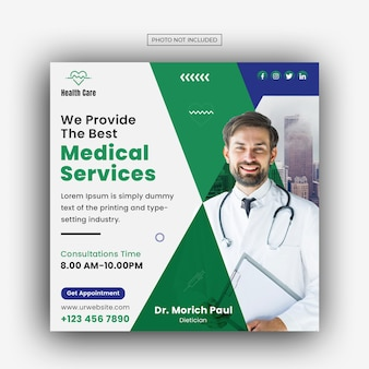 Medical healthcare facebook and instagram banner post template