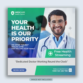 Medical and healthcare social media  flyer or square post design and instagram stories template