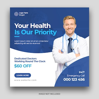 Medical healthcare social media post & web banner template premium psd