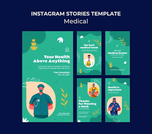Коллекция шаблонов медицинских историй instagram