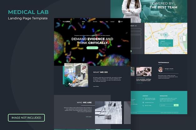 医療ラボのランディングページのウェブサイトテンプレート