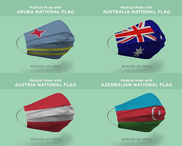 Aruba australia 오스트리아 아제르바이잔 국기가 있는 의료용 마스크