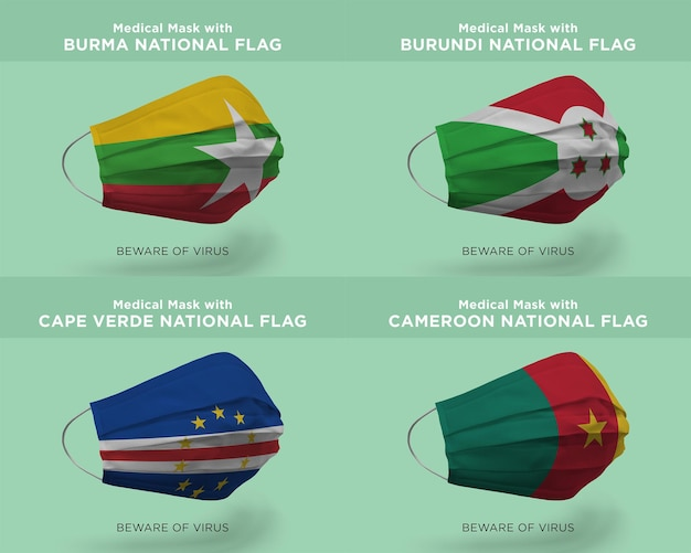 버마 부룬디 카메룬 국기가 있는 의료용 마스크