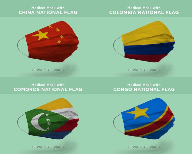 Medical mask with china colombia comoros congo nation flags