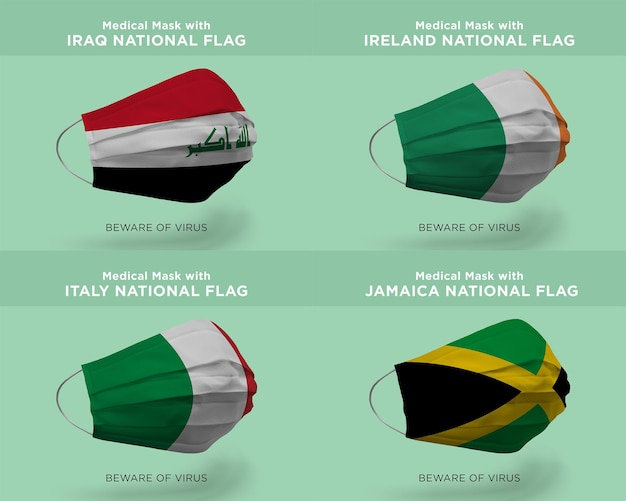 Medical mask with iraq ireland italy jamaica nation flags