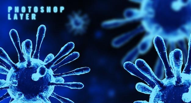 Медицинские микроскопические клетки вируса короны закрывают перевод 3d