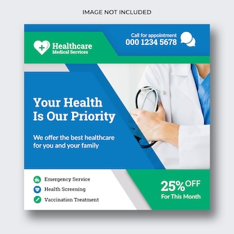 Medical social media banner or square flyer