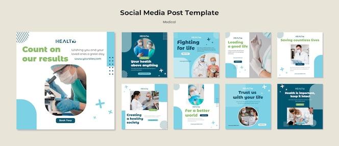 Modello di post sui social media medici