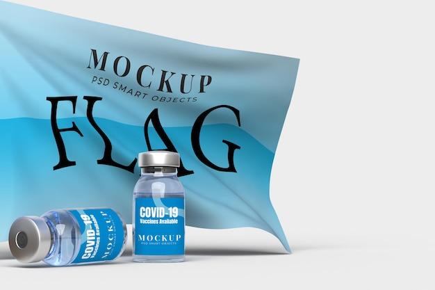 病院、診療所、医療ビジネスコンセプトの医療ツールとフラグ付きcovid-19ワクチンモックアップテンプレート。 3dレンダリング