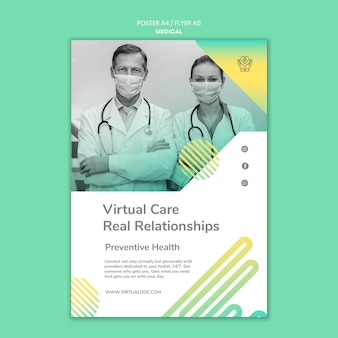 Medical virtual care poster template