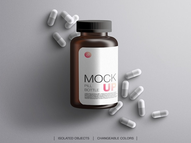 Medicine bottle plastic packaging container mockup with capsules isolated