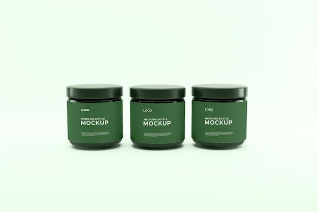 Макет зеленой бутылки медицины