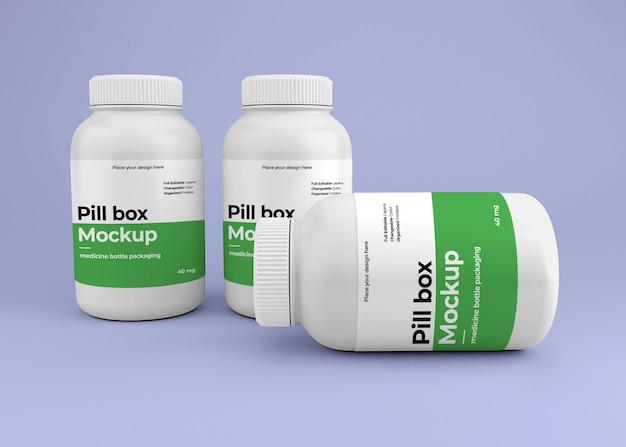 Макет бутылки лекарства с концепцией аптеки