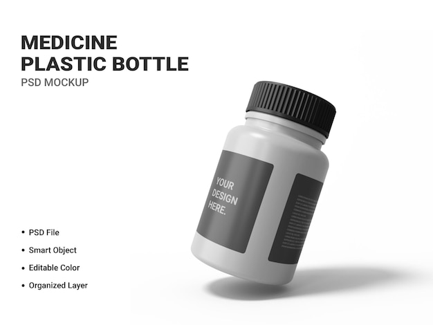 Макет пластиковой бутылки медицины изолированные Premium Psd