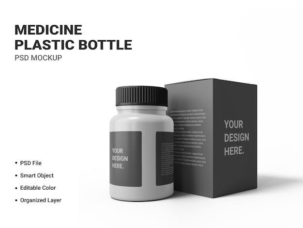Medicine plastic bottle mockup isolated
