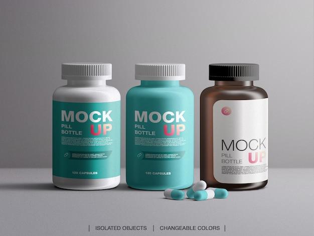 分離されたカプセルが付いている薬のビタミンの丸薬瓶のプラスチック包装容器のモックアップ