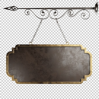 Medieval metal signboard hanging on chains