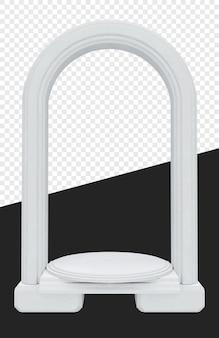 Средневековые или королевские белые ворота с изолированной цилиндрической подставкой Premium Psd