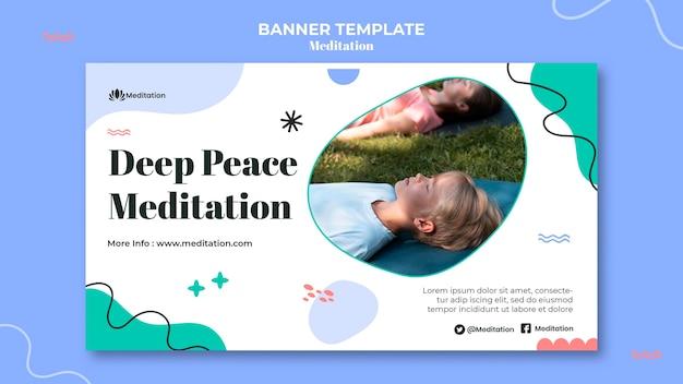 瞑想とマインドフルネスの水平バナー