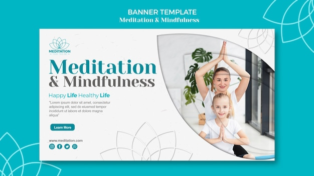 Meditation banner template concept