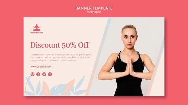 Meditation classes banner template with picture of woman exercising