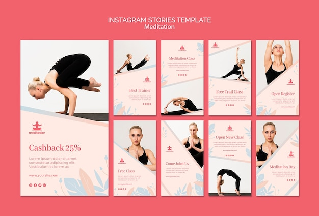 Meditation classes instagram story template collection