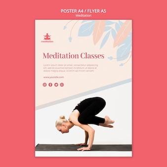Meditation classes poster template with photo of woman exercising