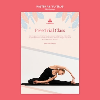 Meditation classes poster template with photo