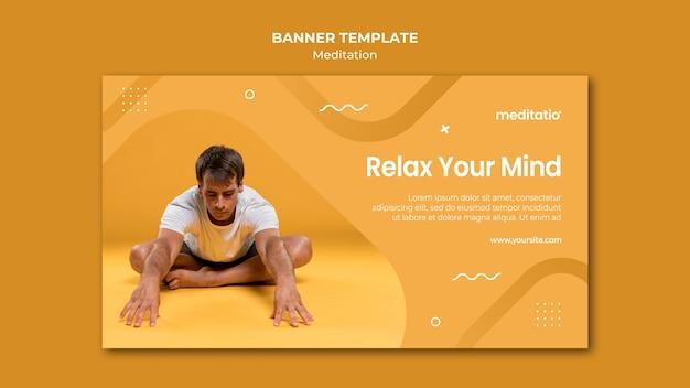Meditation concept banner template design