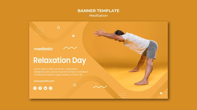 Meditation concept banner template style