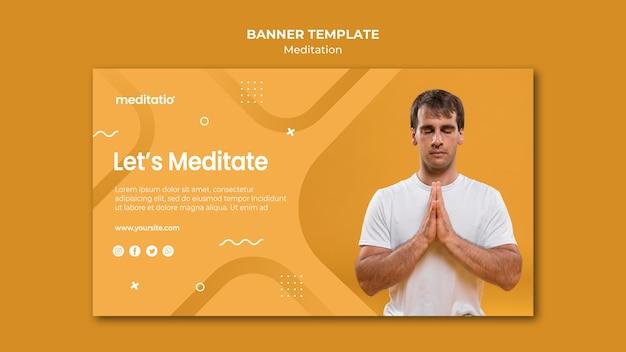 Meditation concept banner template