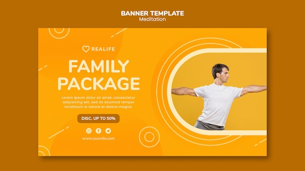 Meditation family package banner template