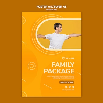 Meditation family package flyer template