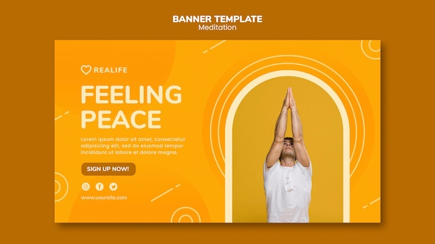 Шаблон баннер медитации чувство мира